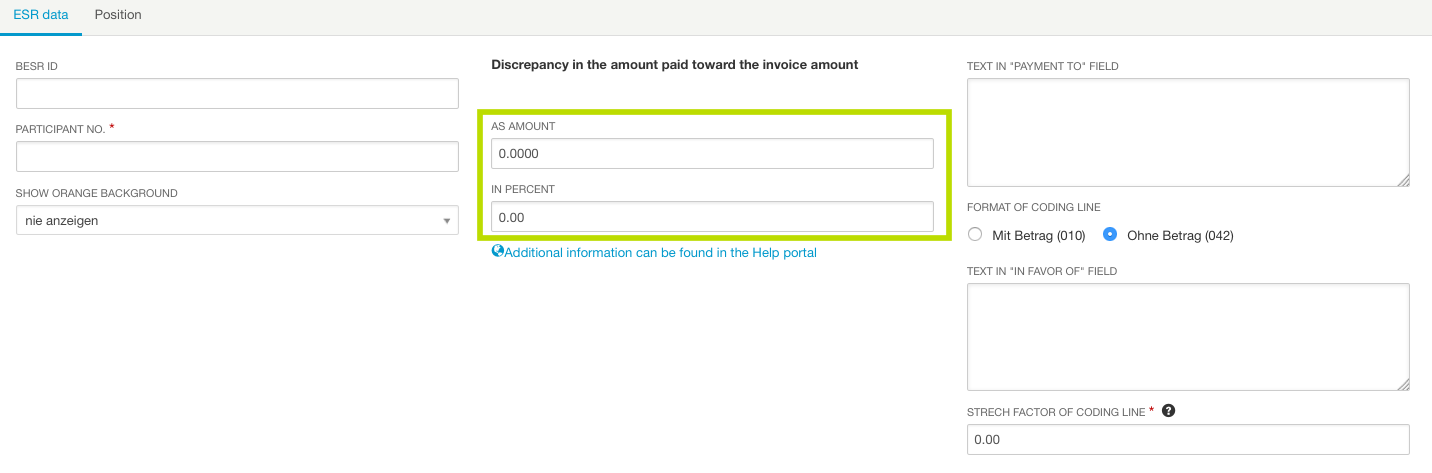 Use These Fields To Specify The Amount Of The Discrepancy For Which The  Payment Should Still Be Accepted As   Payment Slips